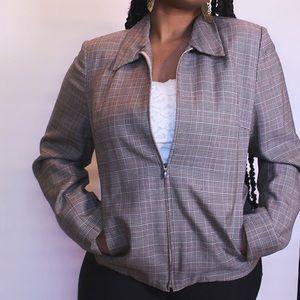 Brown Plaid Zip-Up Blazer Style Jacket
